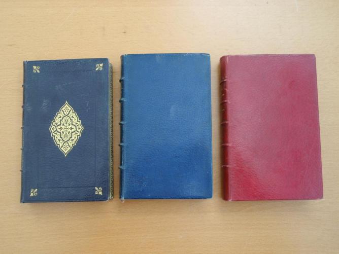 Maroquins noir, bleu et rouge du XIXe siècle